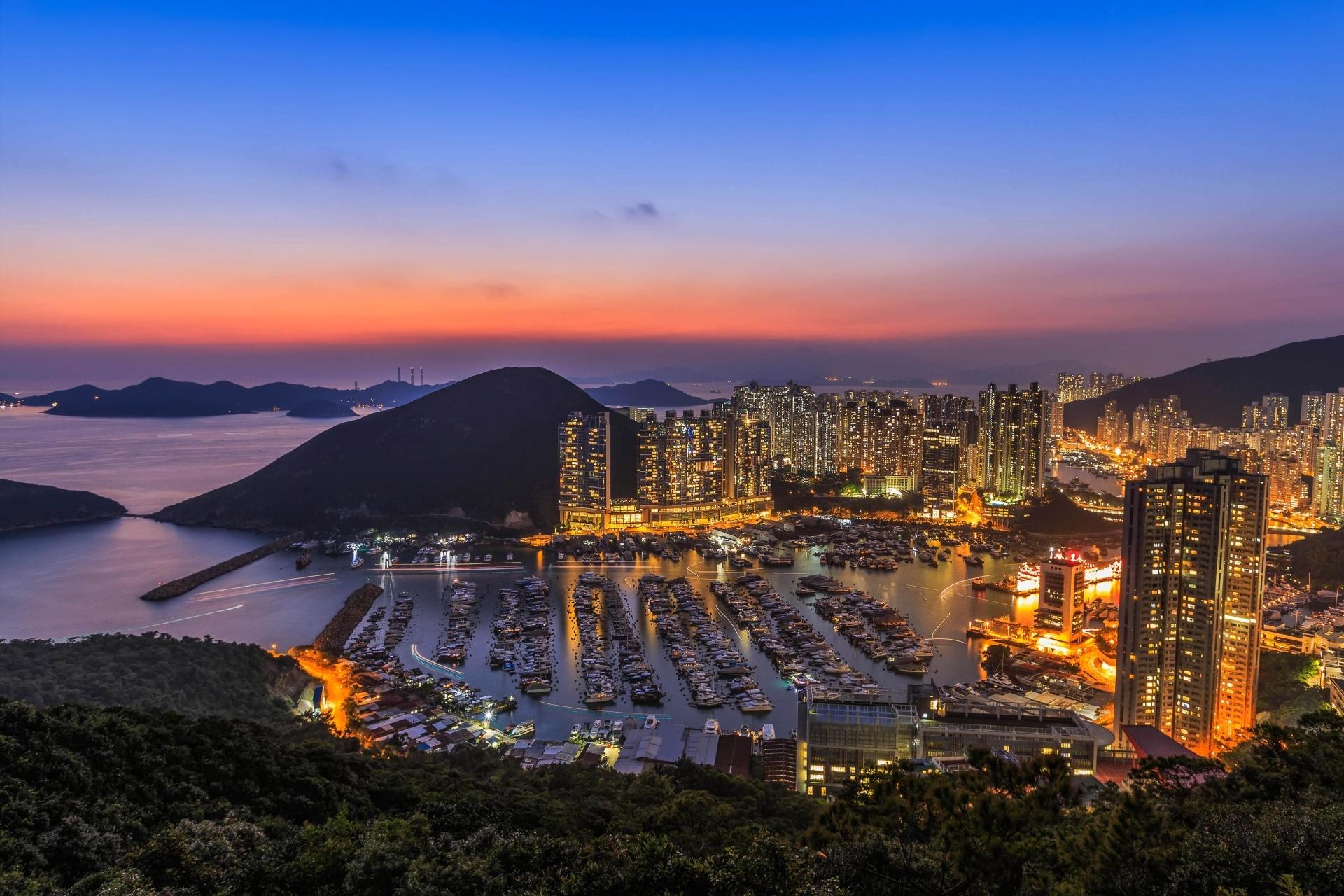 夕暮れの香港仔(アバディーン) 香港の風景