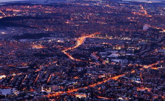 夕暮れのソフィア ブルガリアの風景