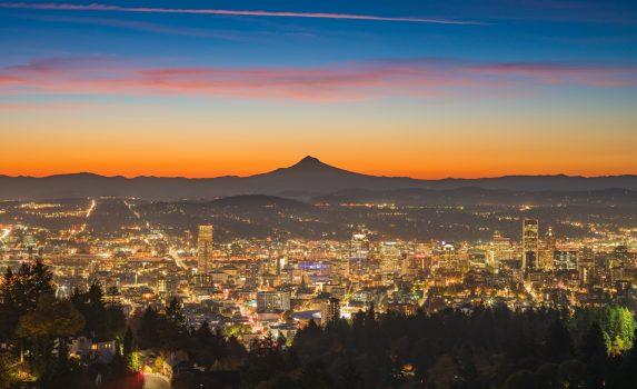 夜明けのポートランドの風景 アメリカの風景