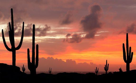 夕暮れのアリゾナの風景 アメリカの風景
