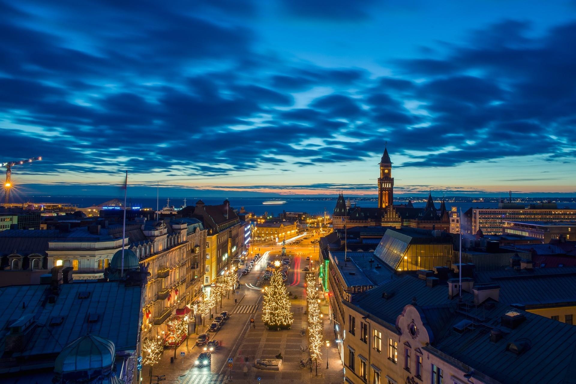 ヘルシンボリの夜景 スウェーデンの風景