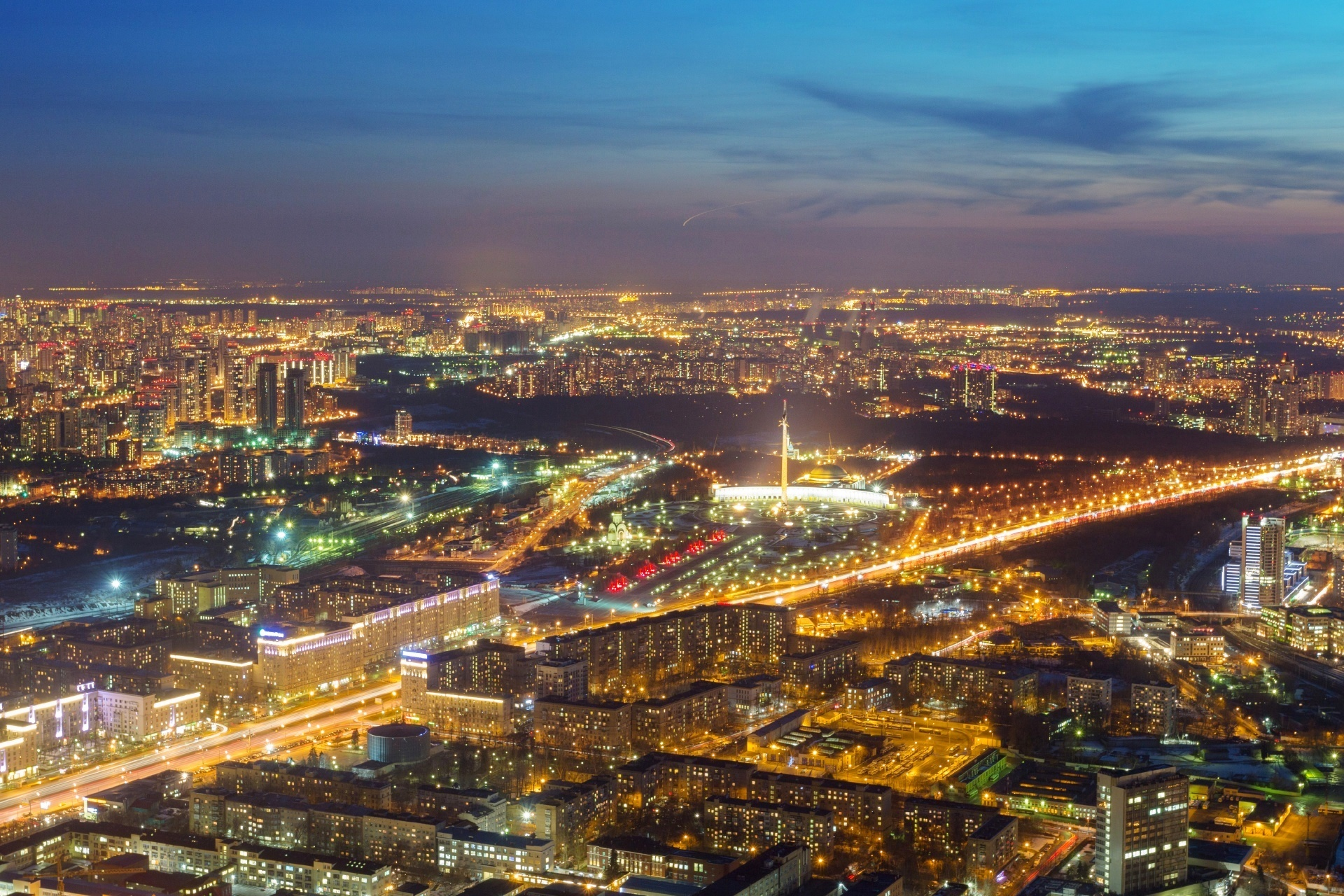夕暮れのモスクワの町並み ロシアの風景