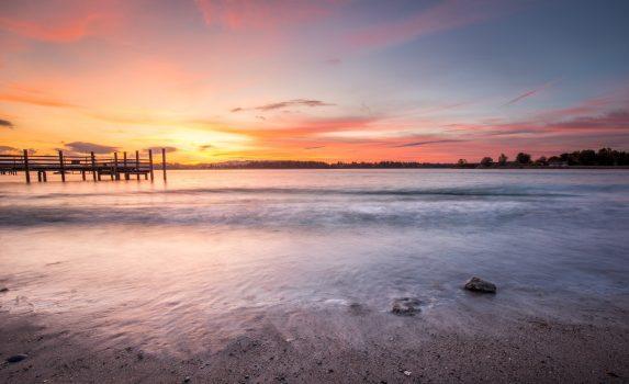 キーム湖の夕日 ドイツの風景