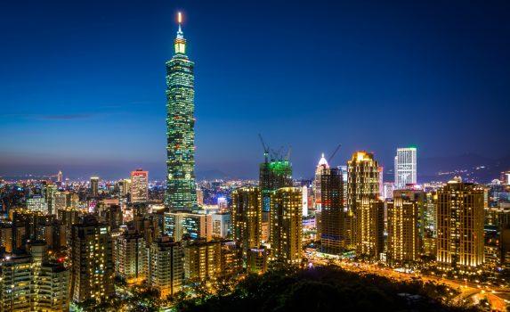 台北101と夜の台北の風景 台湾の風景