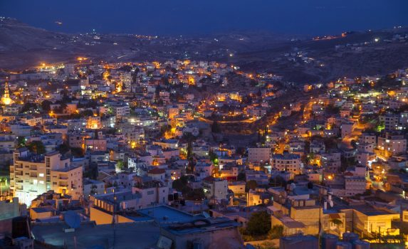 夜のベツレヘムの風景 パレスチナの風景