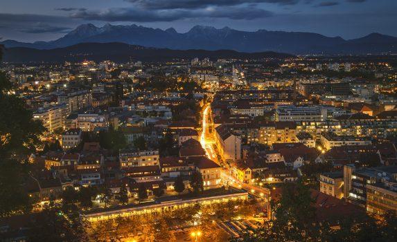 夜のリュブリャナの風景 スロベニアの風景