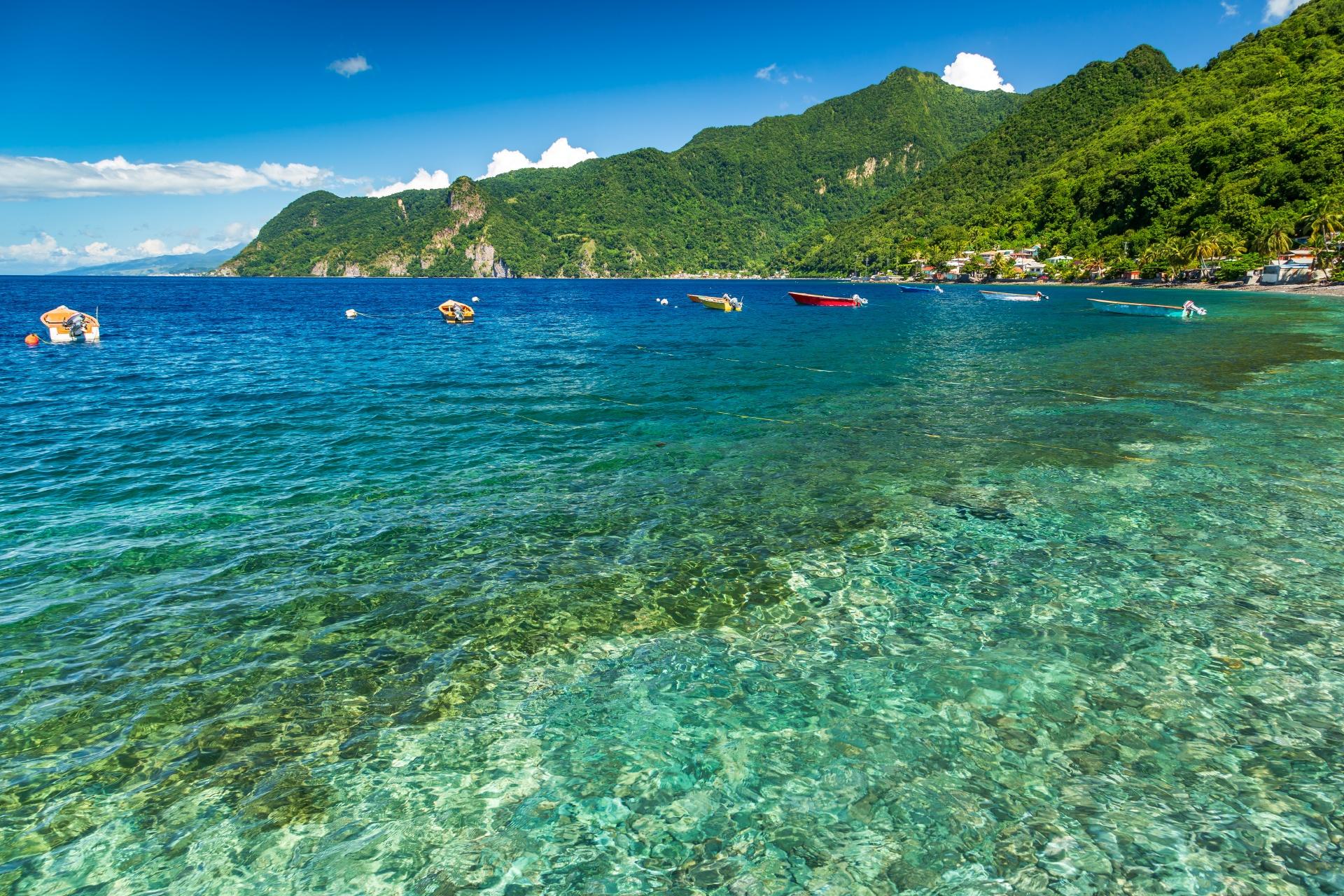 スーフリエール湾の風景 ドミニカの風景