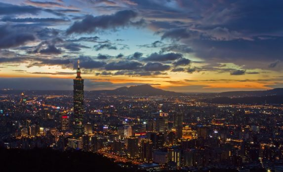 夕暮れの台北の風景 台湾の風景