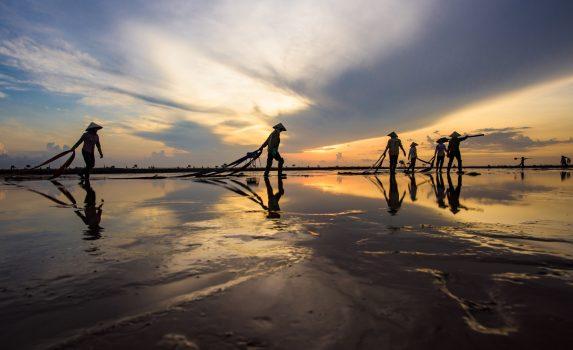 早朝の海辺の風景 ベトナムの風景