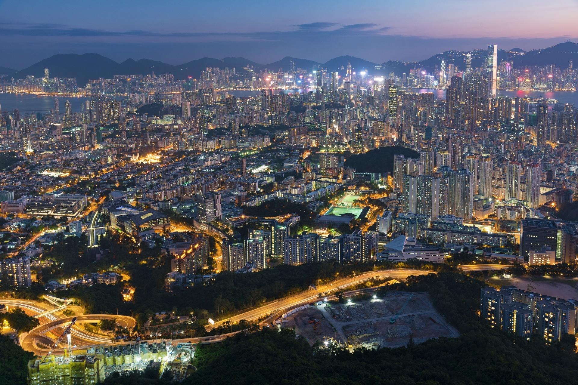 夕暮れ時の香港の風景