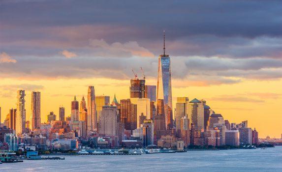 夜明けのニューヨーク ハドソン川の風景 アメリカの風景