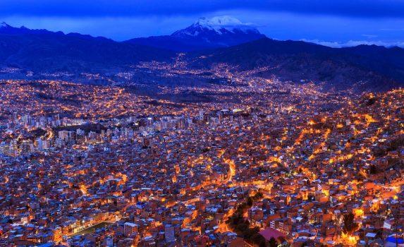 ラパスの夜の風景 ボリビアの風景