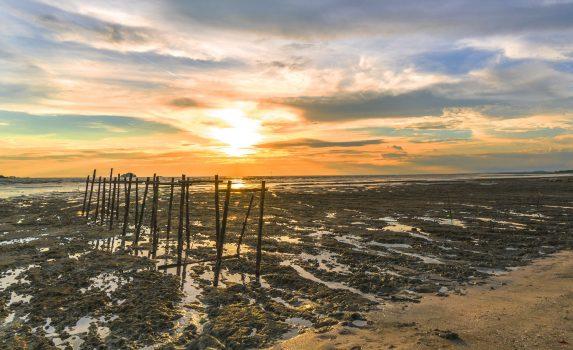 夕日と干潮の海岸の風景