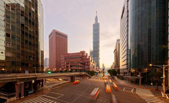 朝の台北 台北101とダウンタウンの街並み 台湾の風景