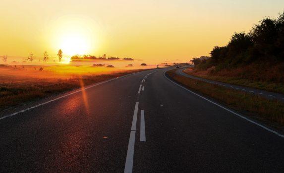 霧の朝の風景 デンマークの風景