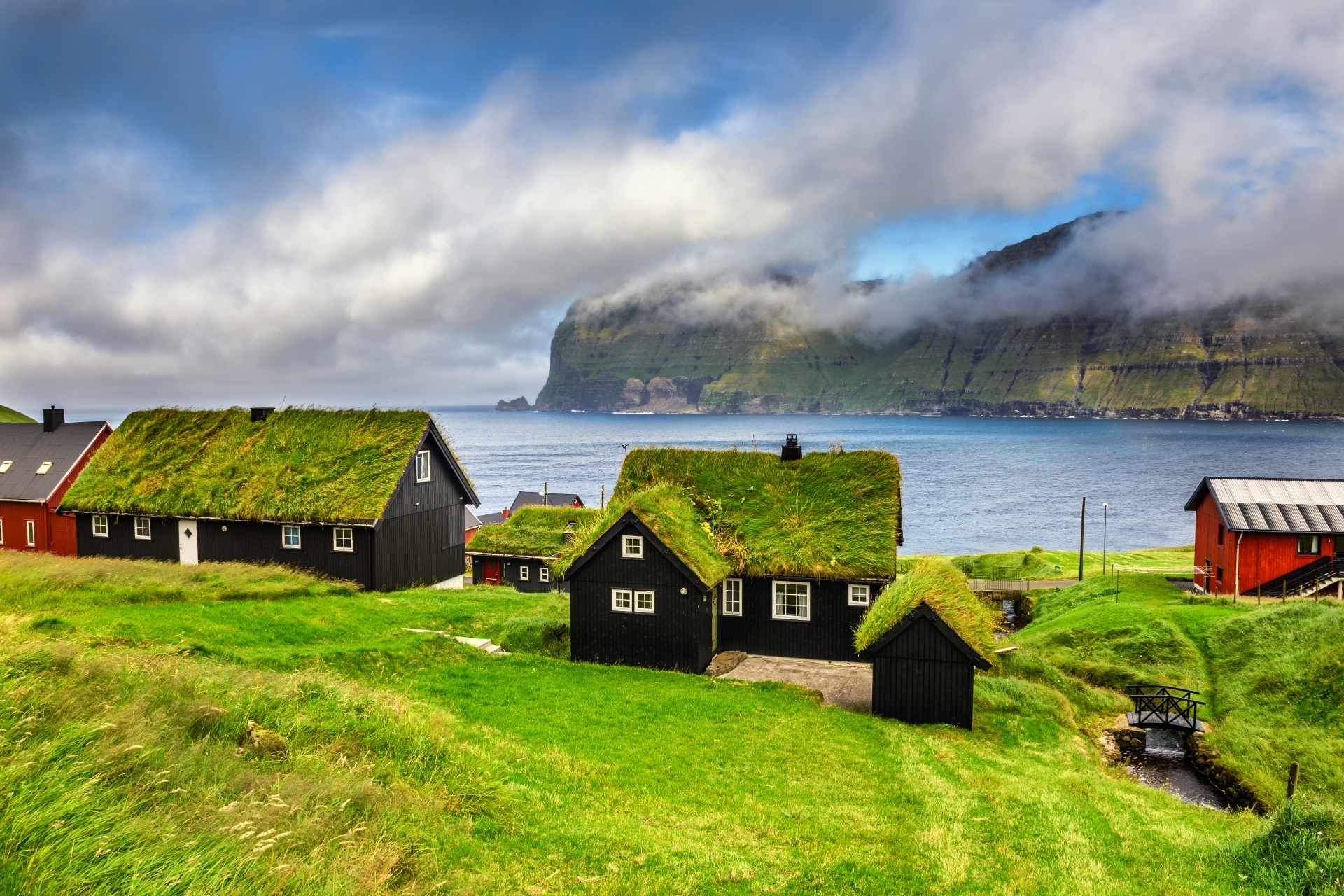 フェロー諸島カルソイ島の集落の風景 デンマークの風景