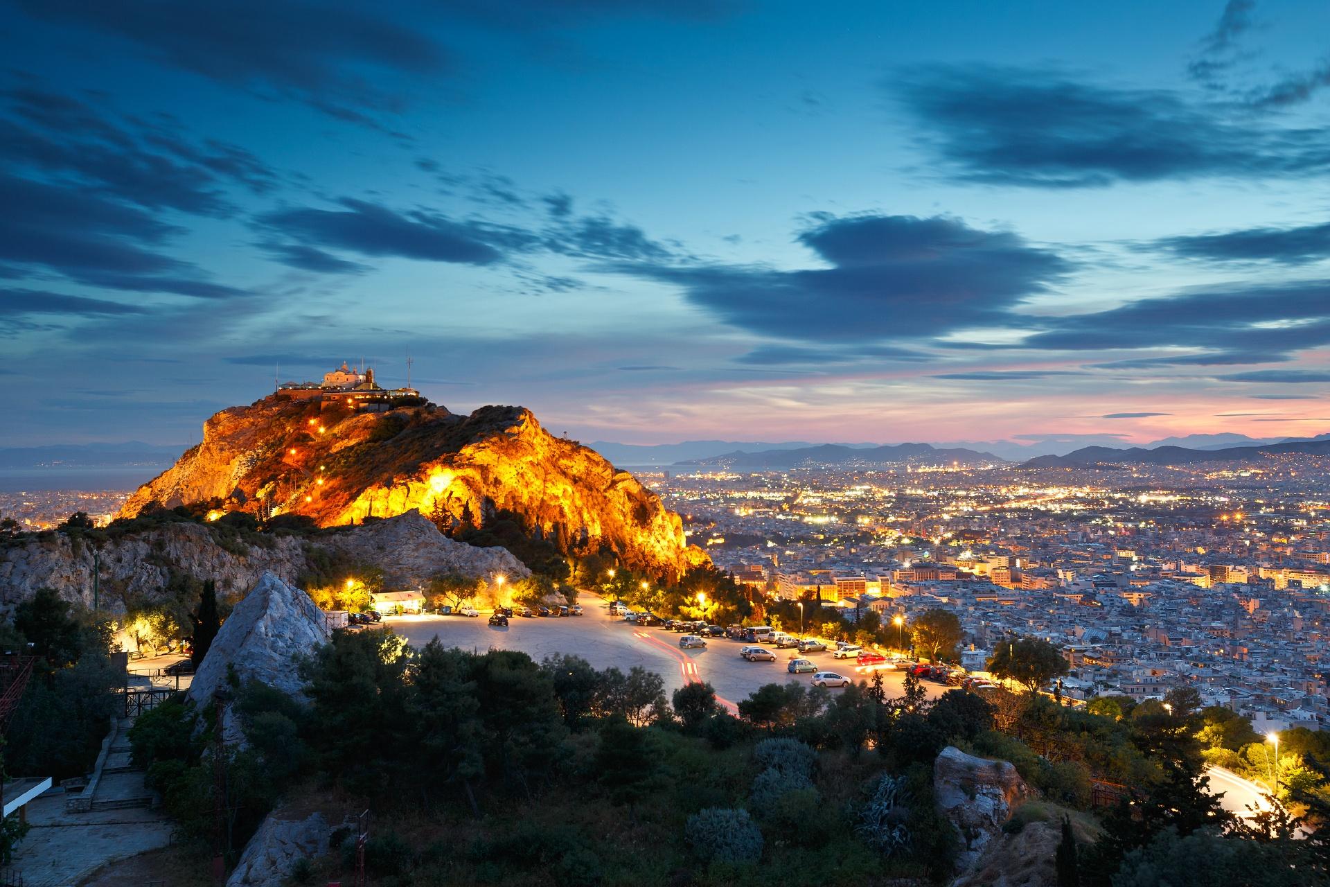夕暮れのアテネの町 ギリシャの風景