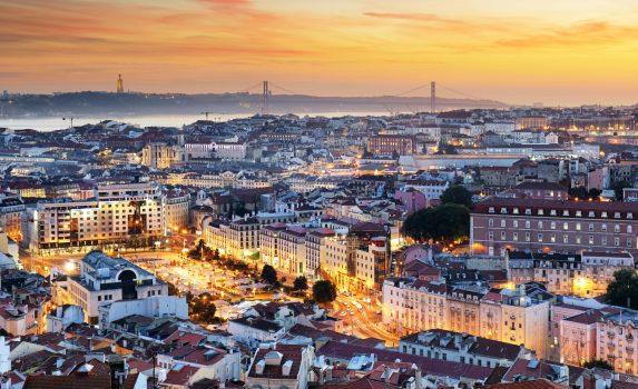 夕暮れのリスボンの風景 ポルトガルの風景