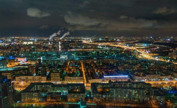 夜のモスクワの風景 ロシアの風景