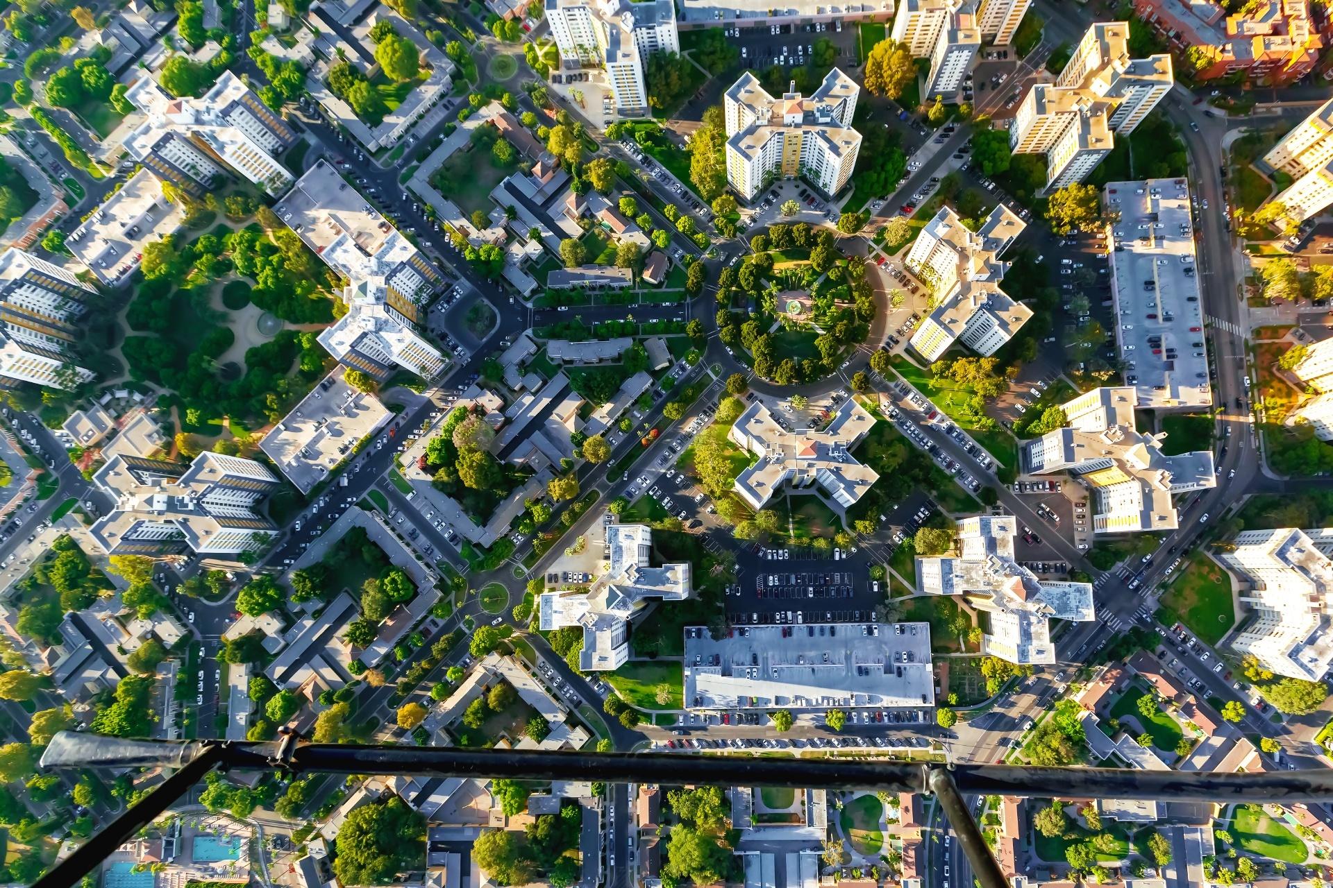 ウィルシェア・ブールバード近くのビル群 ロサンゼルスの風景