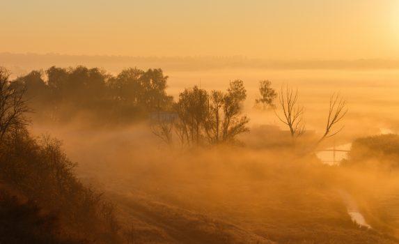 朝焼けの風景 ウクライナの風景