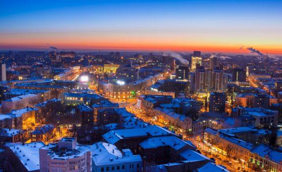 冬の夕暮れのヴォロネジの風景 ロシアの風景