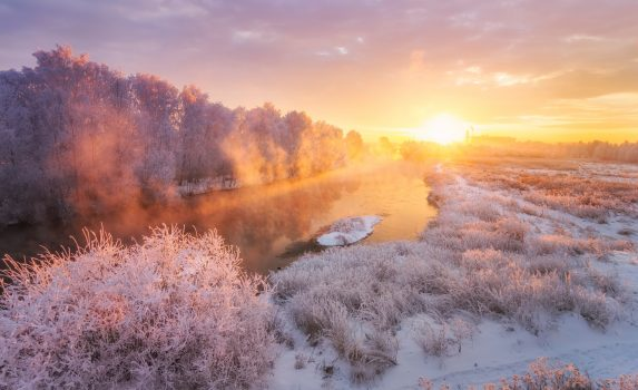 冬の朝の風景 ロシアの風景