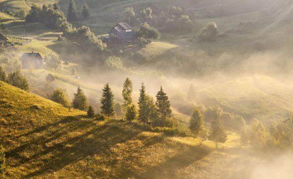 カルパティアの秋の風景 ウクライナの風景