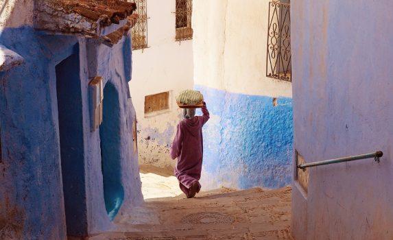シャウエンの路地裏の風景 モロッコの風景