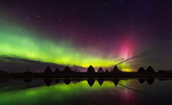 オーロラの風景 ロシア連邦サハ共和国ヤクーツク