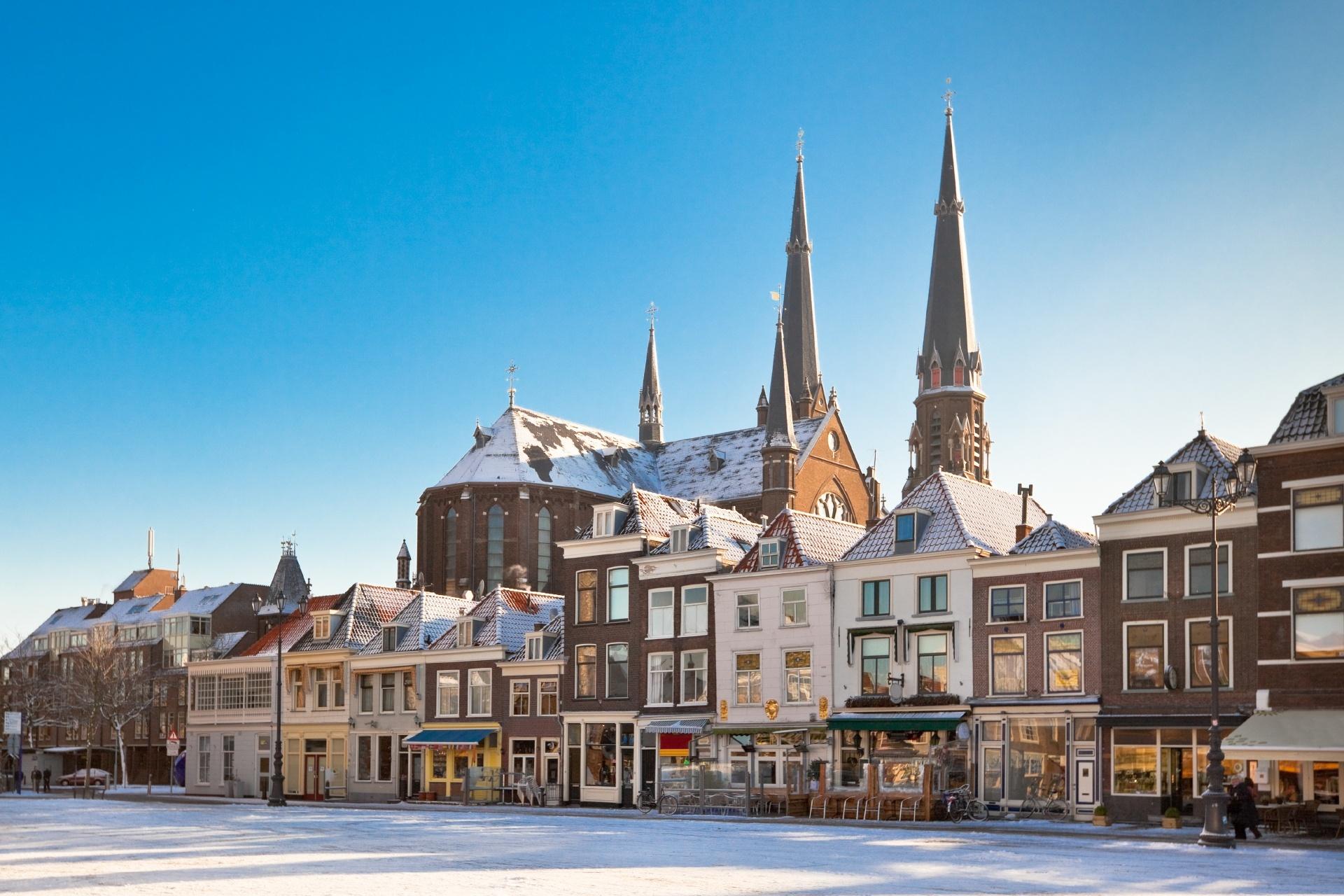冬のデルフトの風景 オランダの風景