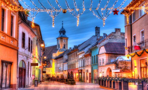 ブラショフのクリスマスの風景 ルーマニアの風景