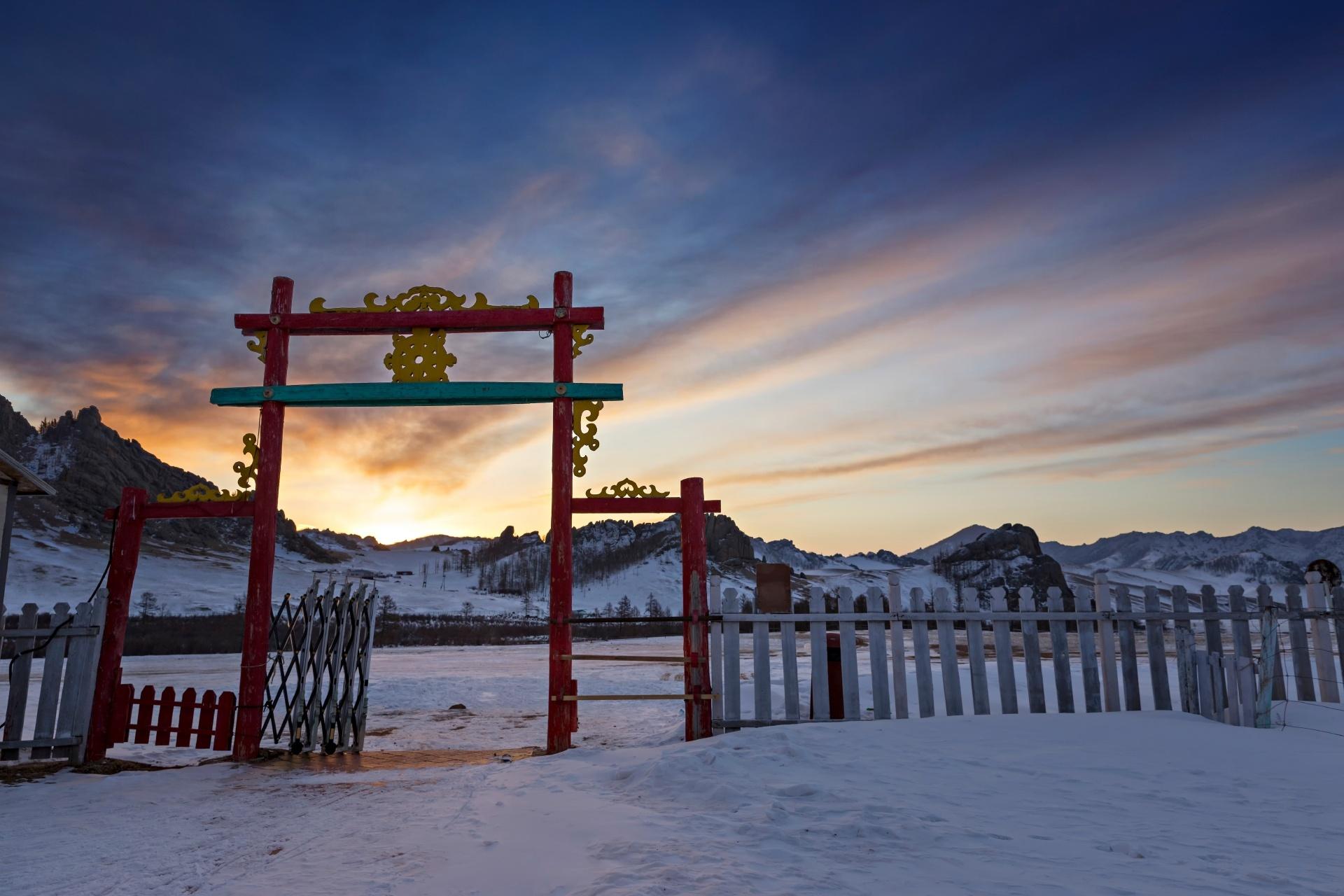 夜明けの風景 モンゴルの風景