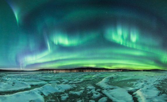 オーロラの風景 ノルウェーの風景