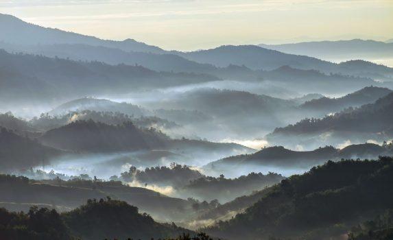 朝の太陽光線と冬の霧の風景 タイの風景