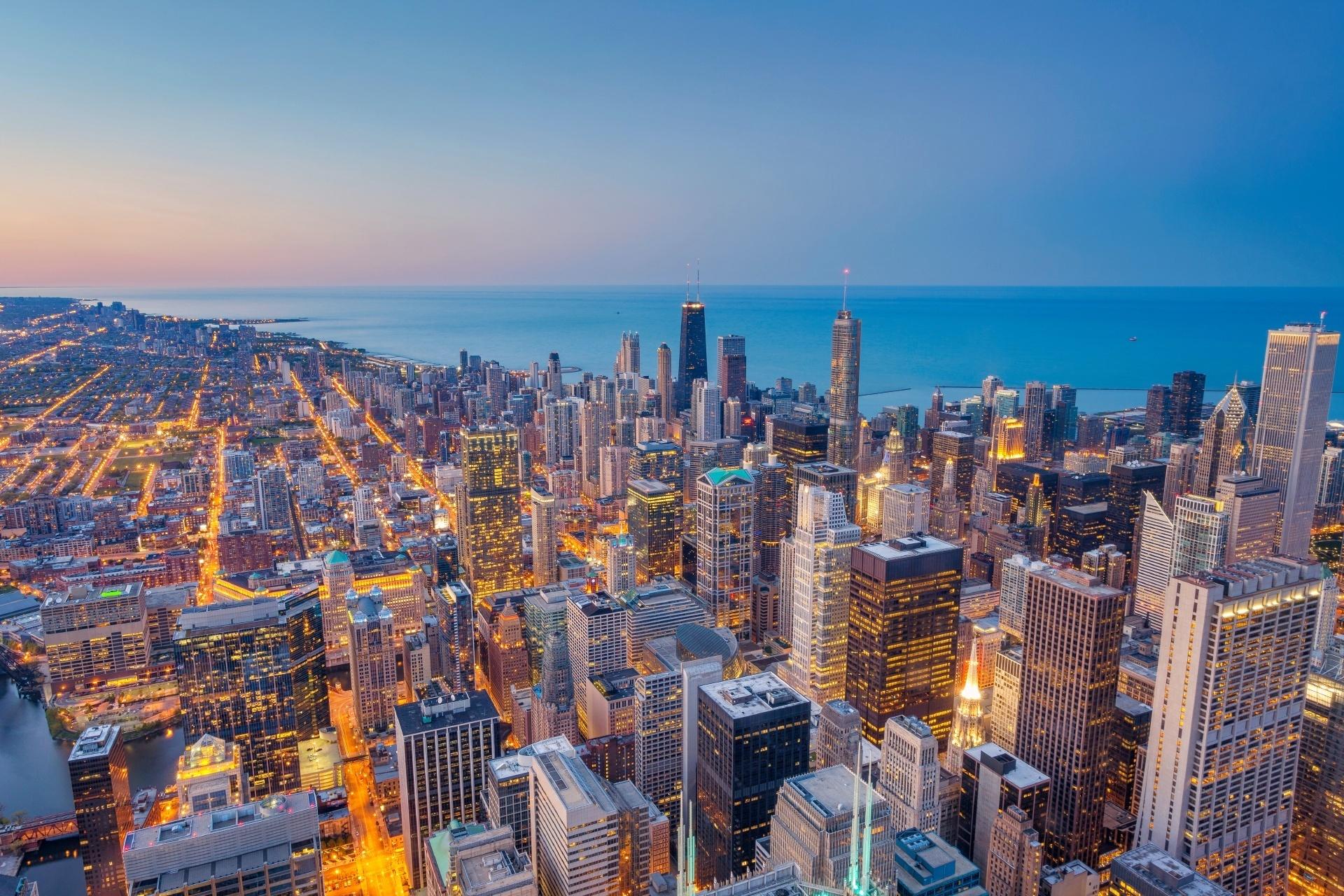 夕暮れのシカゴ ダウンタウンの風景 アメリカの風景