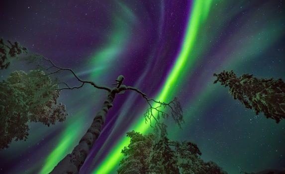 オーロラのある風景 サーリセルカ フィンランドの風景