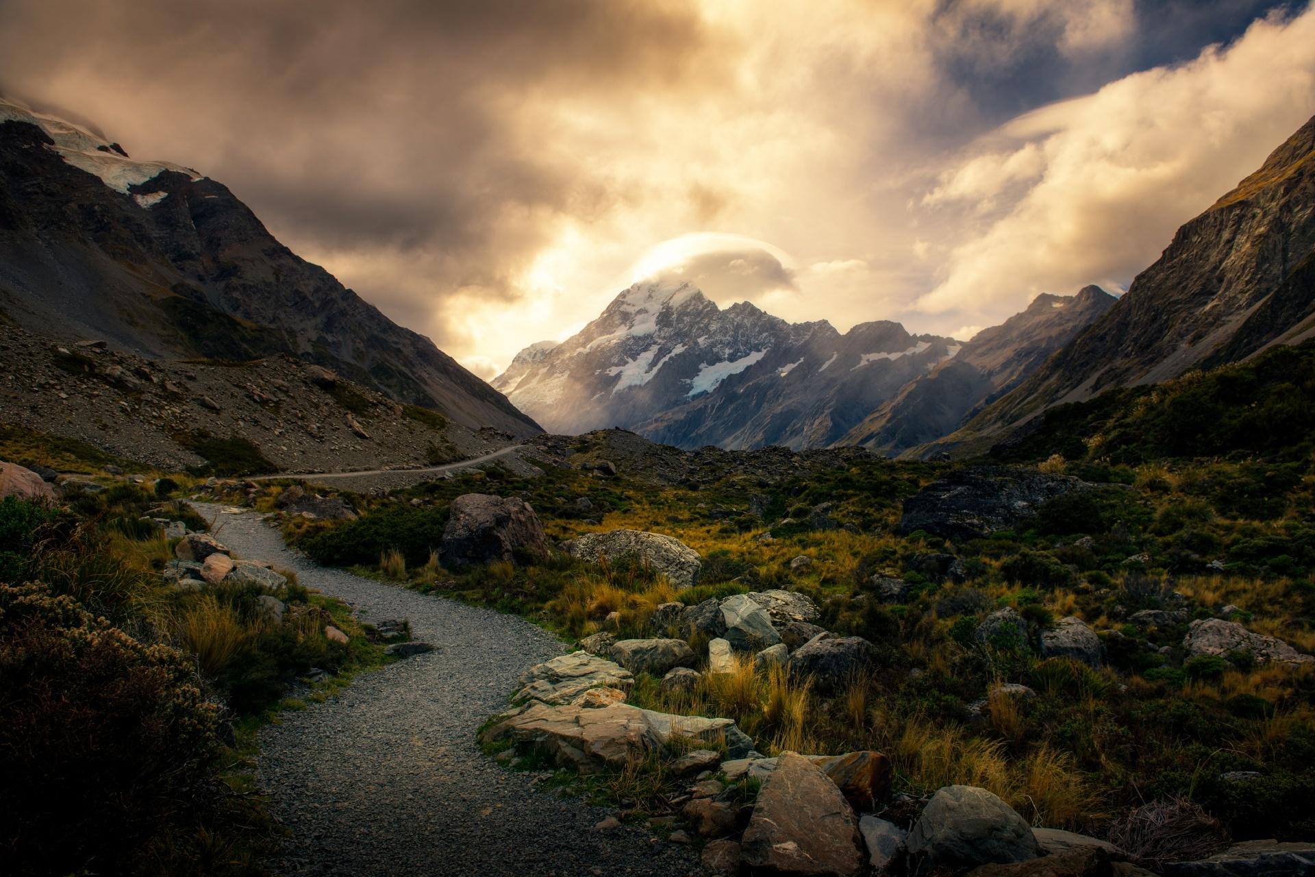 日没のフッカーバレー ニュージーランドの風景