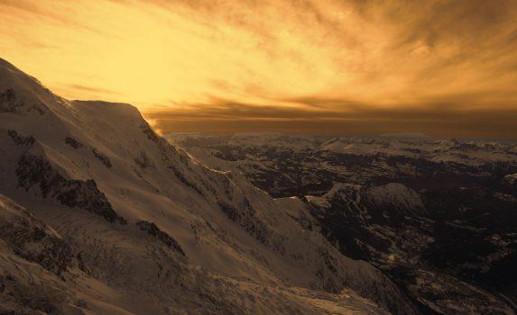 冬の夕暮れのアルプスの風景 フランスの風景