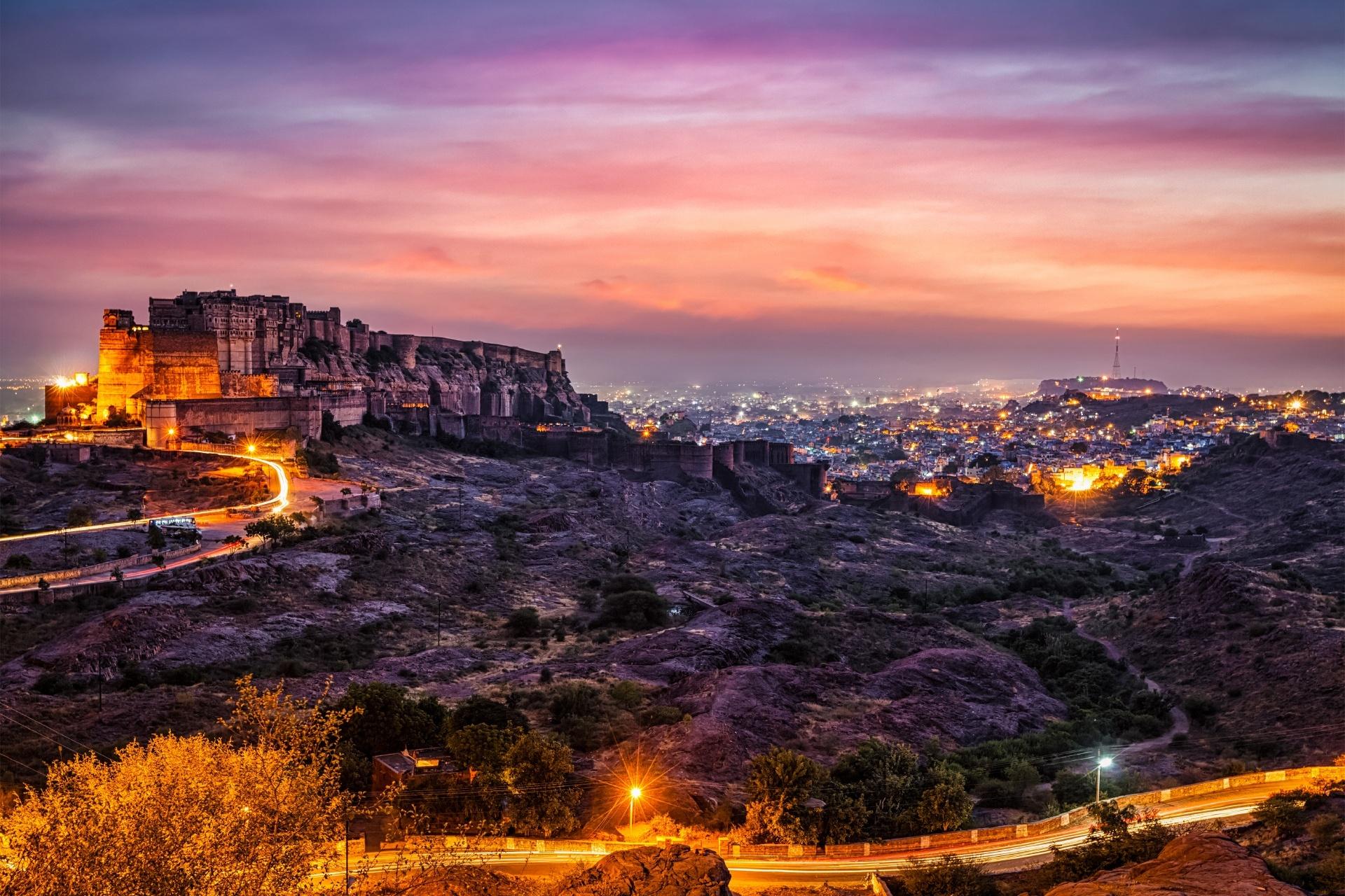 夕暮れのジョードプル インドの風景