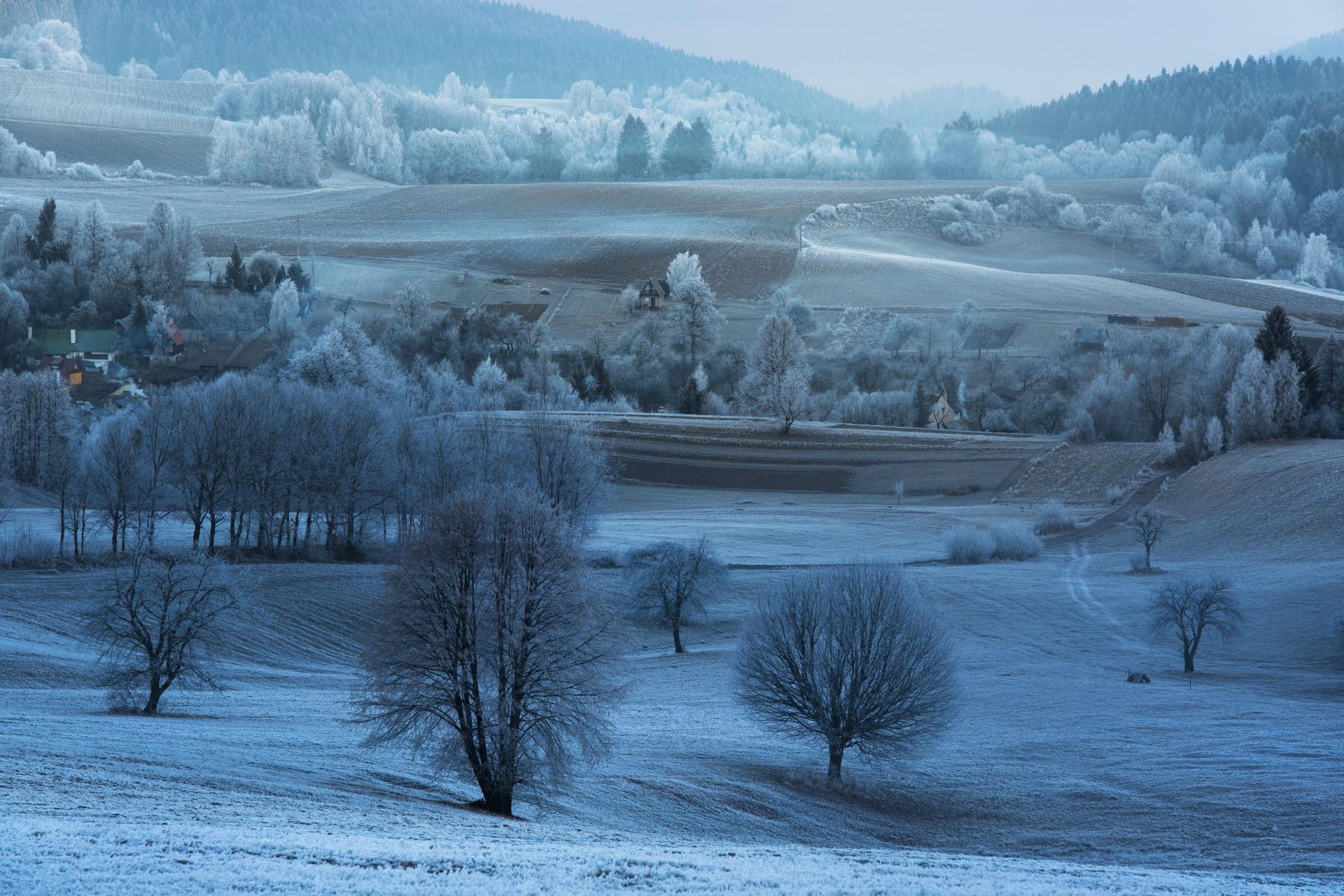 冬の丘の風景 ポヴラズニーク  スロバキアの風景