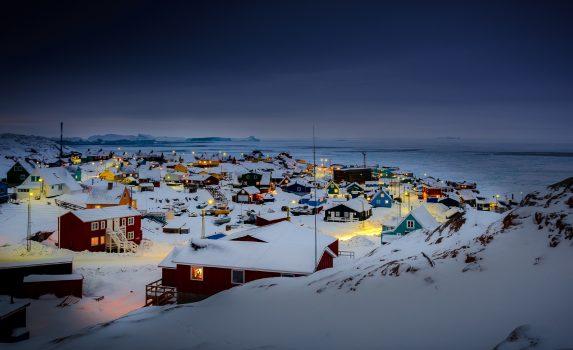 イルリサットの冬の夜 グリーンランドの風景