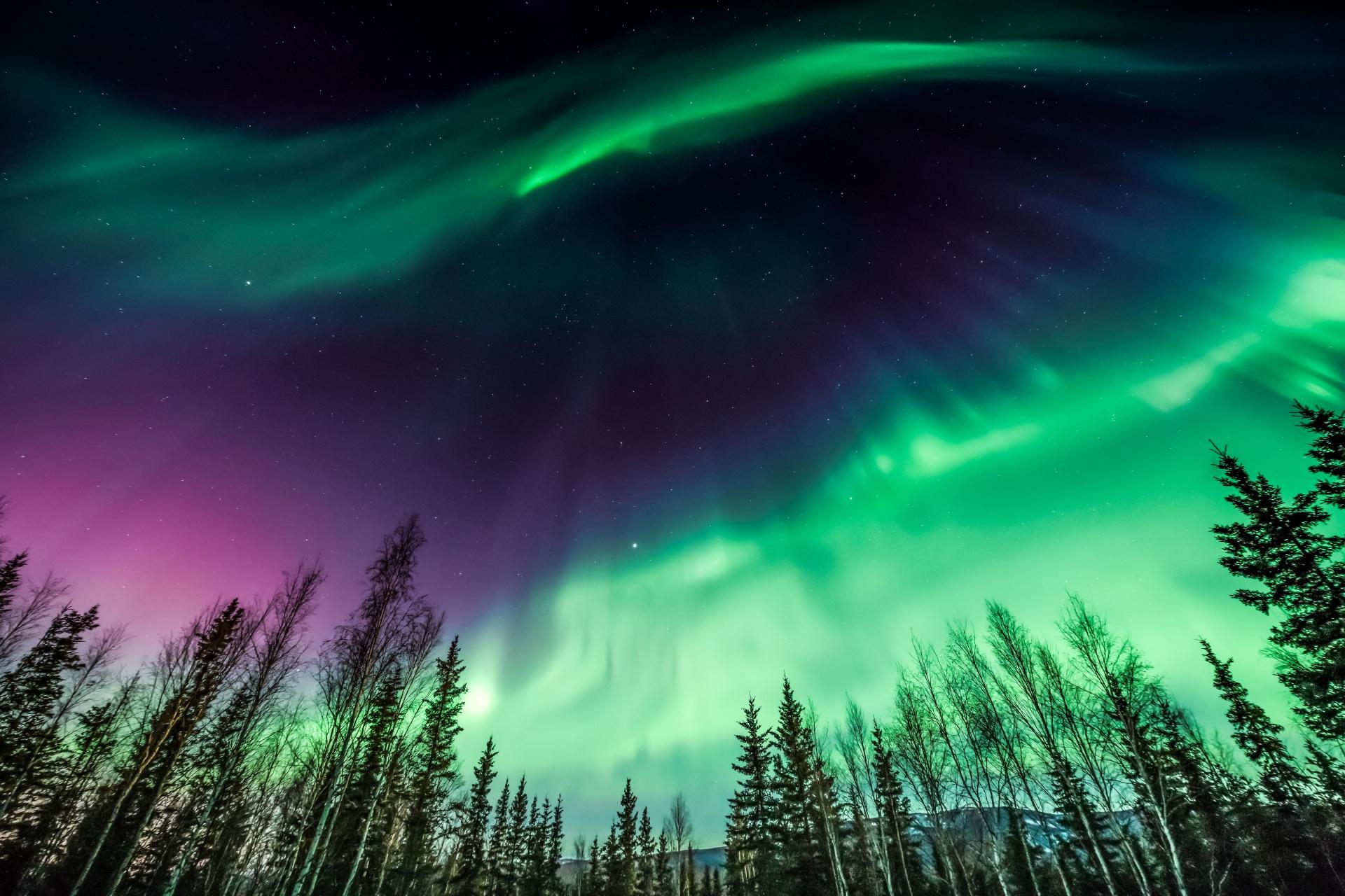 アラスカのオーロラの風景 アメリカの風景