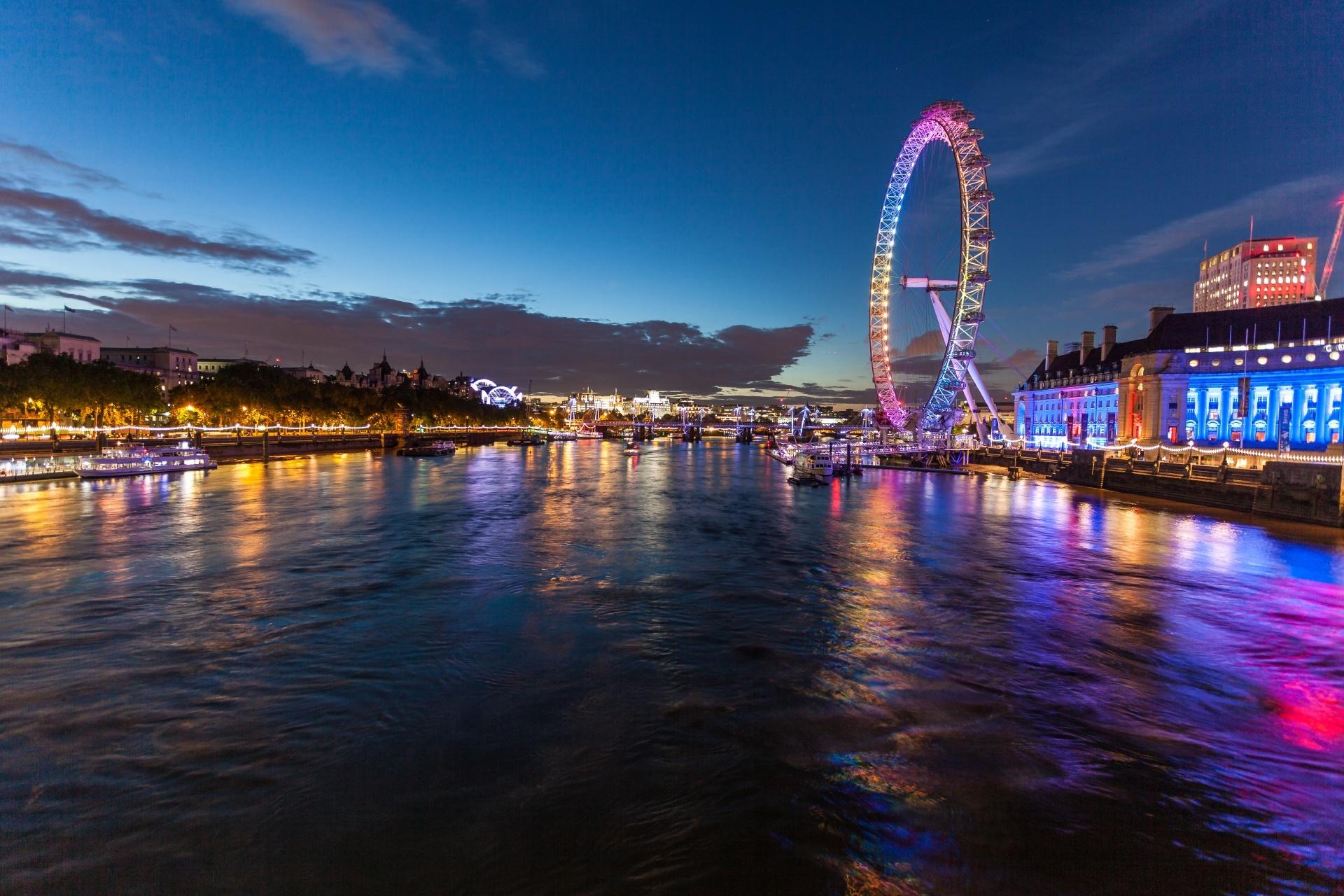 テムズ川とロンドン・アイ ロンドンの風景 イギリスの風景