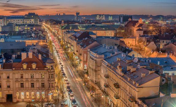 夜のヴィリニュス 旧市街の風景 リトアニアの風景