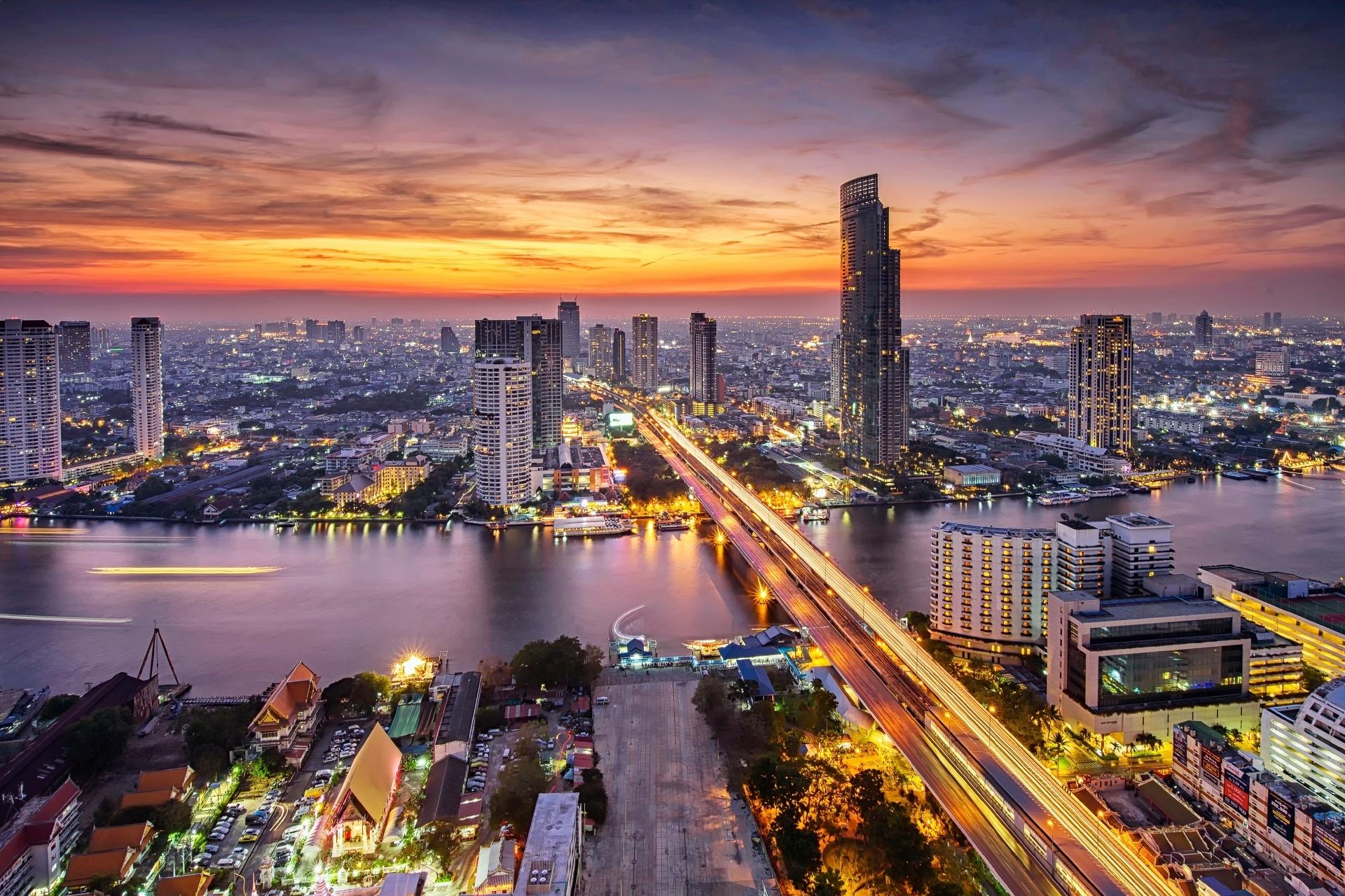 夕暮れのバンコクの風景 タイの風景