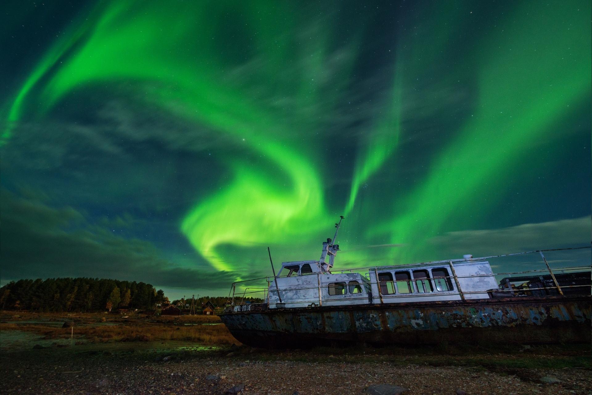 オーロラの風景 カレリア共和国 ロシアの風景