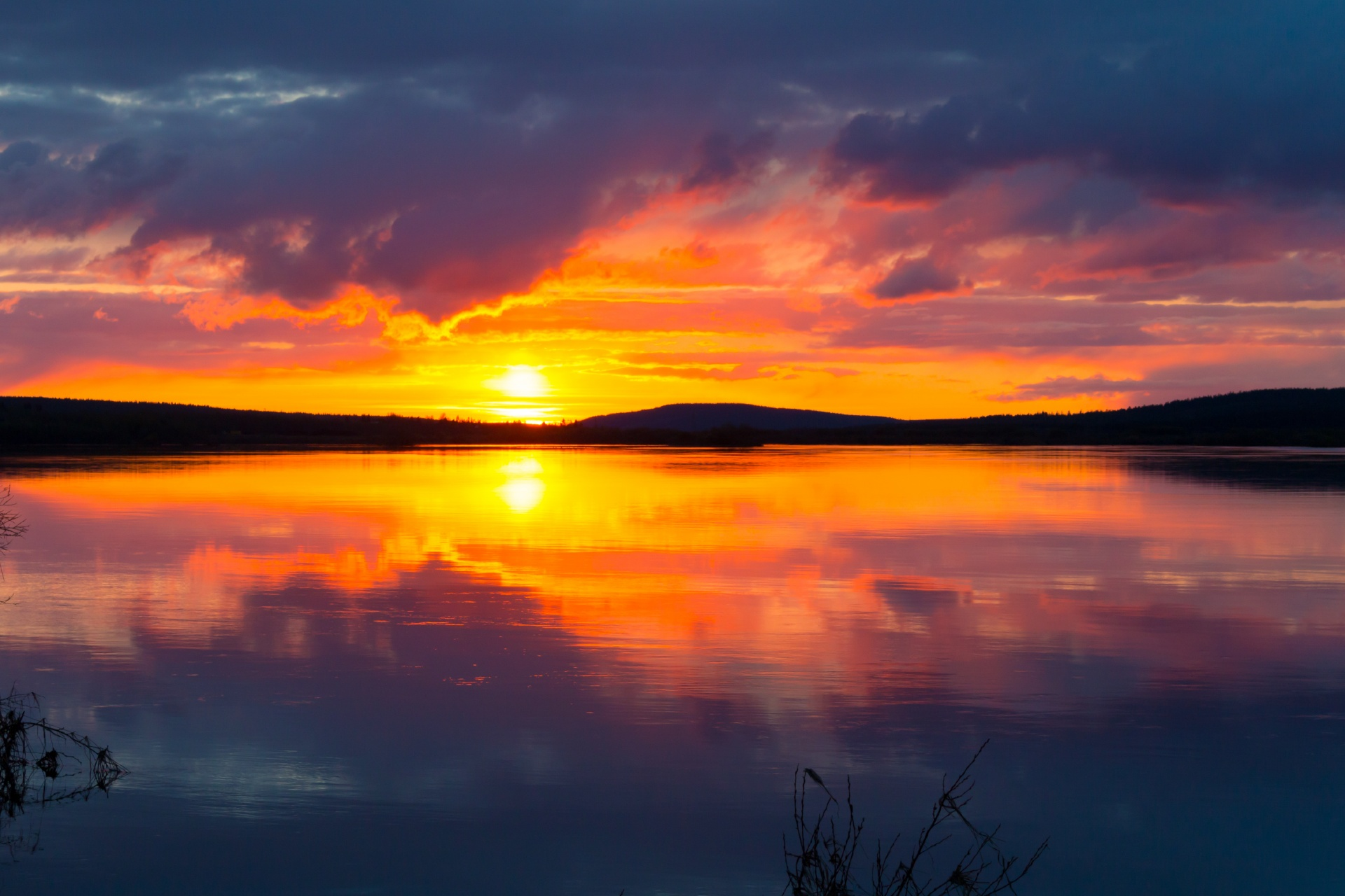 ラップランドの夕日 ロヴァニエミ フィンランドの風景