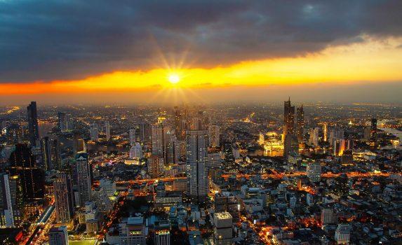 夕暮れのバンコク トワイライト風景 タイの風景