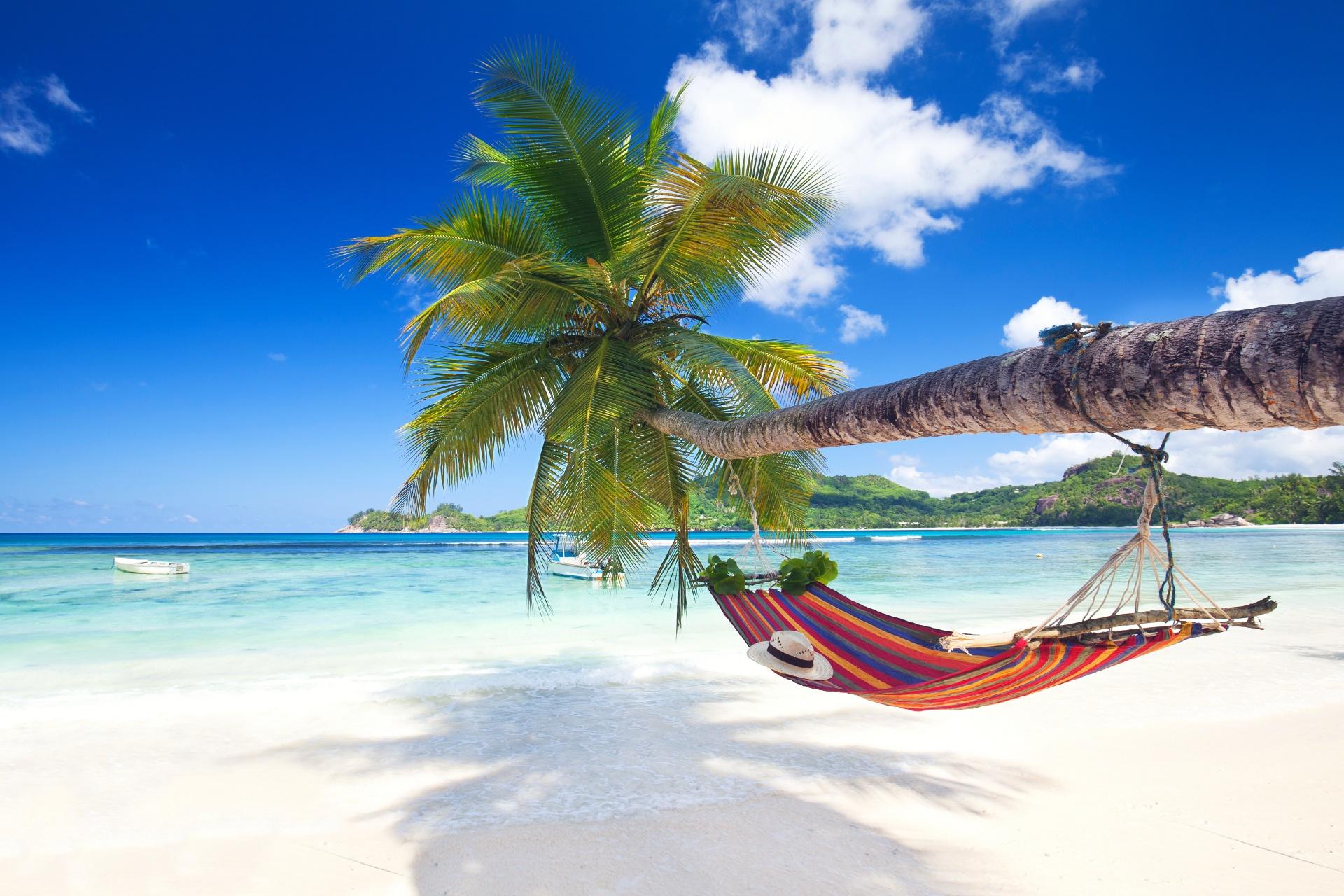 楽園のビーチの風景 セーシェルの風景